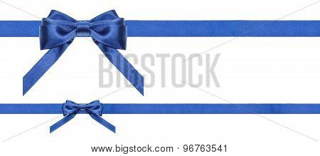 Blue Satin Bows And Ribbons Isolated - Set 35
