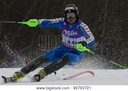 GARMISCH PARTENKIRCHEN, GERMANY. Feb 19 2011: Jens Byggmark (SWE)  competing in the mens  slalom race , at the 2011 Alpine skiing World Championships