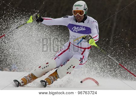 GARMISCH PARTENKIRCHEN, GERMANY. Feb 19 2011: Manfred Pranger (AUT)  competing in the mens  slalom race , at the 2011 Alpine skiing World Championships