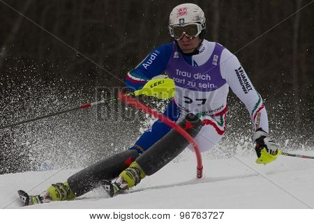 GARMISCH PARTENKIRCHEN, GERMANY. Feb 19 2011: Stefano Gross (ITA)  competing in the mens  slalom race , at the 2011 Alpine skiing World Championships