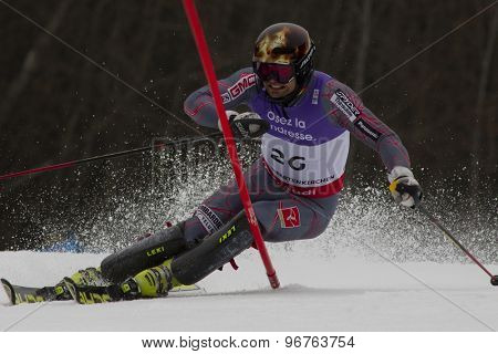 GARMISCH PARTENKIRCHEN, GERMANY. Feb 19 2011: Trevor White (CAN)  competing in the mens  slalom race , at the 2011 Alpine skiing World Championships