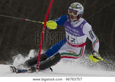 GARMISCH PARTENKIRCHEN, GERMANY. Feb 19 2011: Giuliano Razzoli (ITA)  competing in the mens  slalom race , at the 2011 Alpine skiing World Championships