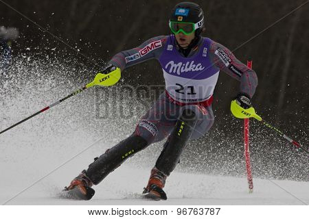 GARMISCH PARTENKIRCHEN, GERMANY. Feb 19 2011: Brad Spence (CAN)  competing in the mens  slalom race , at the 2011 Alpine skiing World Championships