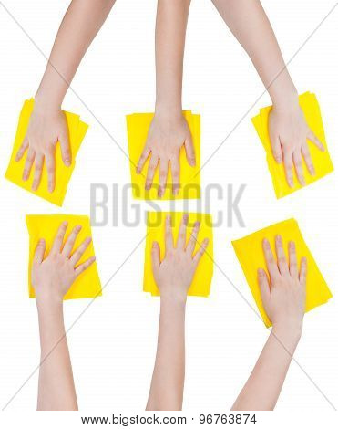 Set Of Hands With Yellow Fabric Rags Isolated