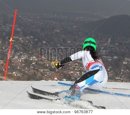 GARMISCH PARTENKIRCHEN, GERMANY. Feb 19 2011: Vanessa Schaedler (LIE) competing in the women's slalom race , at the 2011 Alpine skiing World Championships