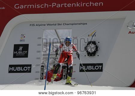 GARMISCH PARTENKIRCHEN, GERMANY. Feb 19 2011: Karolina Chrapek POL competing in the women's slalom race , at the 2011 Alpine skiing World Championships