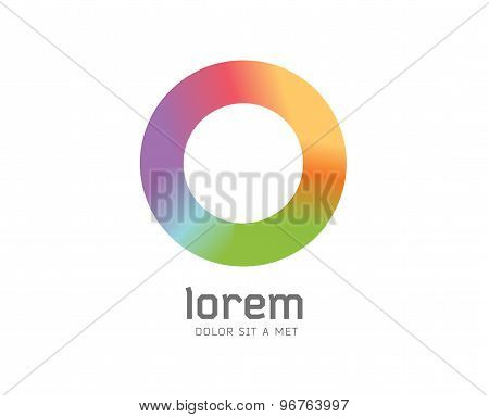 Abstract colored O vector icon. Isolated on white background. Circle, colored, shape, globe, abstrac