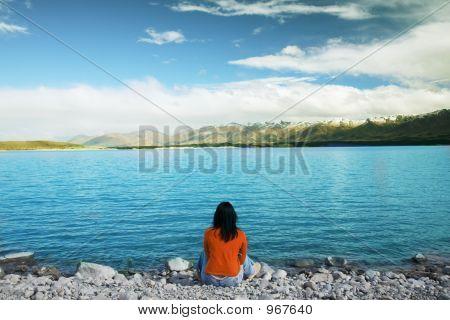 Admiring Beautiful New Zealand Lake