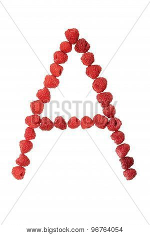 Letter A made from raspberry