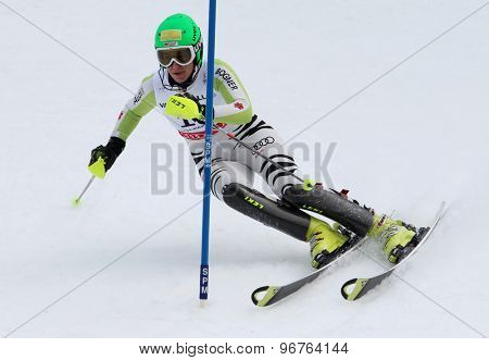 GARMISCH PARTENKIRCHEN, GERMANY. Feb 19 2011: Katharina Duerr (GER)  competing in the women's slalom race , at the 2011 Alpine skiing World Championships