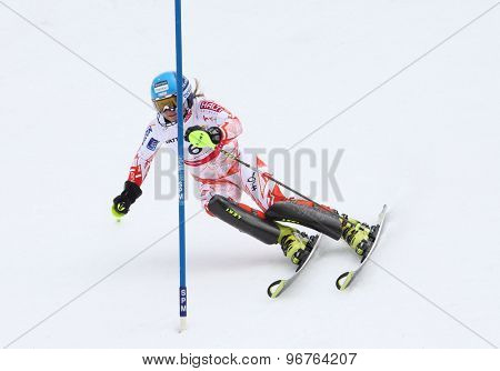 GARMISCH PARTENKIRCHEN, GERMANY. Feb 19 2011:Tanja Poutiainen (FIN)  competing in the women's slalom race , at the 2011 Alpine skiing World Championships