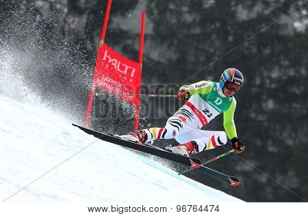 GARMISCH PARTENKIRCHEN, GERMANY. Feb 18 2011:Felix Neureuther (GER)  competing in the mens giant slalom race on the Kandahar race piste at the 2011 Alpine skiing World Championships