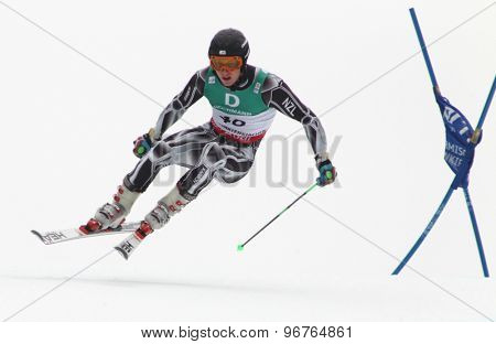 GARMISCH PARTENKIRCHEN, GERMANY. Feb 18 2011: Benjamin Griffin (NZE) competing in the mens giant slalom race on the Kandahar race piste at the 2011 Alpine skiing World Championships