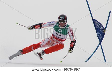 GARMISCH PARTENKIRCHEN, GERMANY. Feb 18 2011: Andreas Romar (FIN) competing in the mens giant slalom race on the Kandahar race piste at the 2011 Alpine skiing World Championships