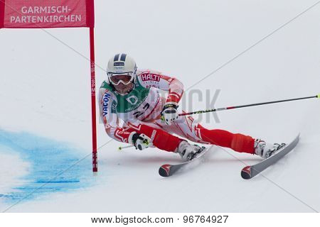 GARMISCH PARTENKIRCHEN, GERMANY. Feb 18 2011: Marcus Sandell (FIN) competing in the mens giant slalom race on the Kandahar race piste at the 2011 Alpine skiing World Championships
