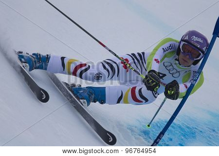 GARMISCH PARTENKIRCHEN, GERMANY. Feb 17 2011: RIESCH Maria (GER) competing in the women's giant slalom  race  at the 2011 Alpine skiing World Championships