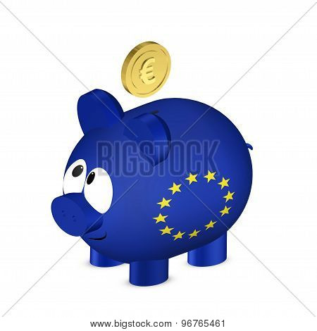 Piggy Bank With European Union Flag And Euro Coin I Isolated Over White