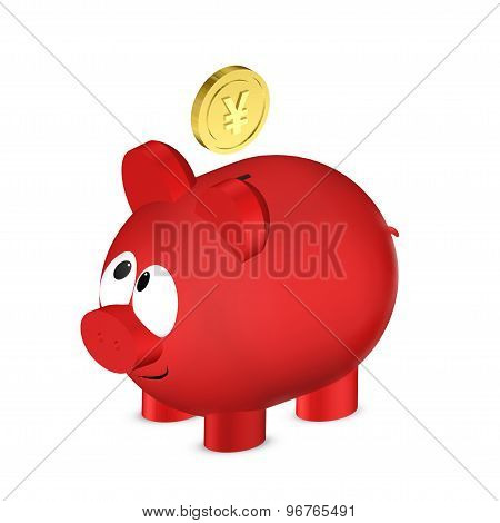 Piggy Bank With Yuan Coin I Isolated Over White