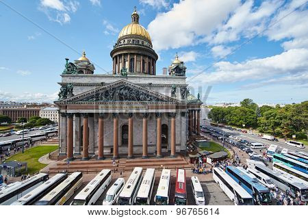 Russia, St. Petersburg, Isaac's Cathedral, 07.14.2015: A View Of Isaac's Cathedral From 5 Floors Of