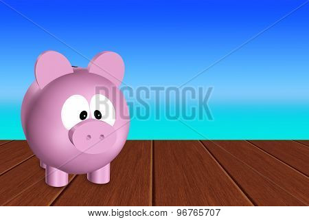 Pink Piggy Bank Standing On Wooden Terrace With Place For Text