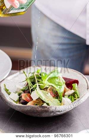 chef making salad