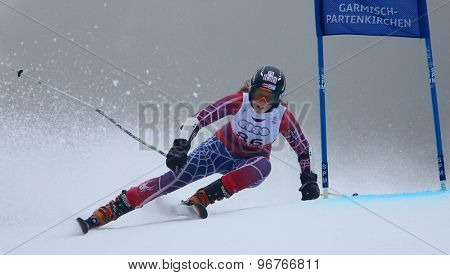 GARMISCH PARTENKIRCHEN, GERMANY. Feb 17 2011: KRONE Kristina (PUR) competing in the women's giant slalom  race  at the 2011 Alpine skiing World Championships