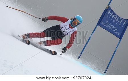GARMISCH PARTENKIRCHEN, GERMANY. Feb 17 2011: KALHOR Mitra (IRA) competing in the women's giant slalom  race  at the 2011 Alpine skiing World Championships