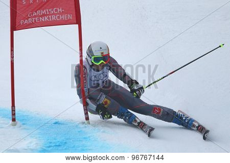 GARMISCH PARTENKIRCHEN, GERMANY. Feb 17 2011: JANYK Britt (CAN) competing in the women's giant slalom  race  at the 2011 Alpine skiing World Championships