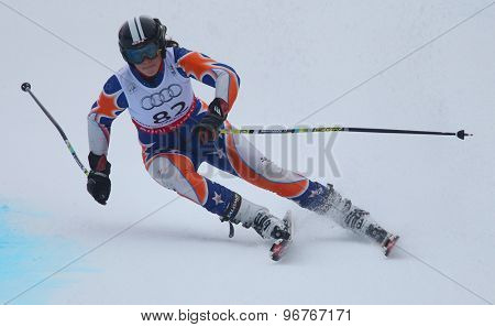 GARMISCH PARTENKIRCHEN, GERMANY. Feb 17 2011: VAN BUYNDER Isabel (BEL) competing in the women's giant slalom  race  at the 2011 Alpine skiing World Championships