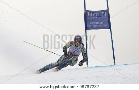 GARMISCH PARTENKIRCHEN, GERMANY. Feb 17 2011: Tina Maze (SLO)  competing in the women's giant slalom  race  at the 2011 Alpine skiing World Championships