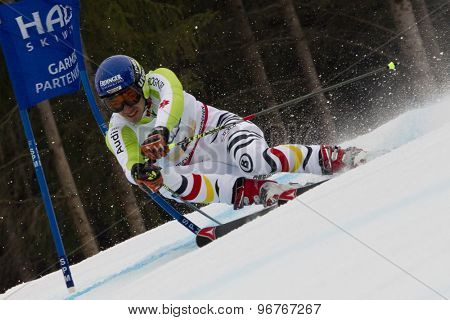 GARMISCH PARTENKIRCHEN, GERMANY. Feb 16 2011: Felix Neureuther (GER) competing in the team event a parallel slalom race  at the 2011 Alpine skiing World Championships