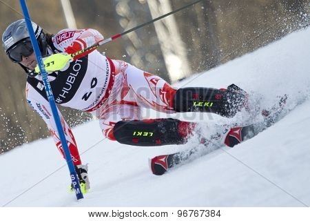 GARMISCH PARTENKIRCHEN, GERMANY. Feb 14 2011: Andreas Romar (FIN) competing in the men's slalom at the 2011 Alpine skiing World Championships
