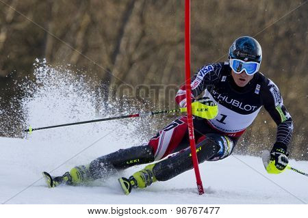 GARMISCH PARTENKIRCHEN, GERMANY. Feb 14 2011: Tim Jitloff (USA) competing in competing in the men's slalom at the 2011 Alpine skiing World Championships