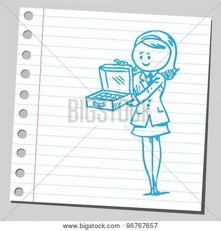Businesswoman holding suitcase full of money