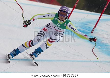 GARMISCH PARTENKIRCHEN, GERMANY. Feb 13 2011: Maria Riesch (GER) speeds down the course competing in the women's downhill race at the 2011 Alpine skiing World Championships