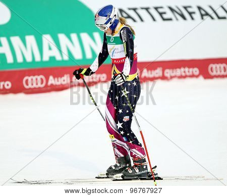 GARMISCH PARTENKIRCHEN, GERMANY. Feb 13 2011: Lindsey Vonn (USA) reacts in the finish area of the women's downhill race at the 2011 Alpine skiing World Championships