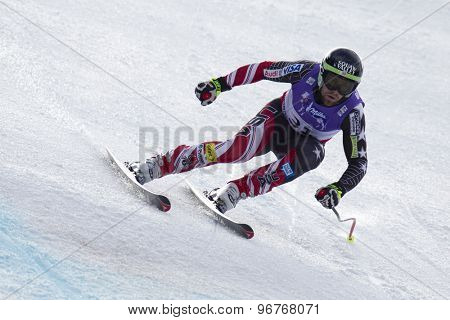 GARMISCH PARTENKIRCHEN, GERMANY. Feb 12 2011: Travis Ganong (USA) lands a jump competing in the men's downhill at the 2011 Alpine skiing World Championships