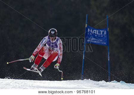 GARMISCH PARTENKIRCHEN, GERMANY. Feb 12 2011: Andreas Romar (FIN) takes to the air competing in the men's downhill at the 2011 Alpine skiing World Championships
