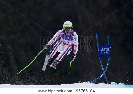 GARMISCH PARTENKIRCHEN, GERMANY. Feb 12 2011: Johan Clarey (FRA) takes to the air competing in the men's downhill at the 2011 Alpine skiing World Championships