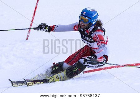 GARMISCH PARTENKIRCHEN, GERMANY. Feb 11 2011: Karolina Chrapek POL competing in the women's slalom at the 2011 Alpine skiing World Championships.
