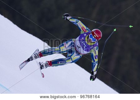 GARMISCH PARTENKIRCHEN, GERMANY. Feb 12 2011: Rok Perko (SLO) takes to the air competing in the men's downhill at the 2011 Alpine skiing World Championships