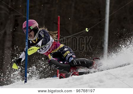 GARMISCH PARTENKIRCHEN, GERMANY. Feb 11 2011: Laurenne Ross (USA) competing in the women's slalom at the 2011 Alpine skiing World Championships.