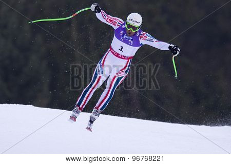 GARMISCH PARTENKIRCHEN, GERMANY. Feb 12 2011: Yannick Bertrand (FRA) takes to the air competing in the men's downhill at the 2011 Alpine skiing World Championships