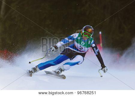 GARMISCH PARTENKIRCHEN, GERMANY. Feb 10 2011: Carolina Ruiz-Castillo (SPA) whilstcompeting in the women's downhill training at the 2011 Alpine Skiing World Championships