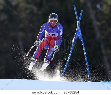 GARMISCH PARTENKIRCHEN, GERMANY. Feb 10 2011: TJ Baldwin (GBR) takes to the air competing in the men's downhill training at the 2011 Alpine Skiing World Championships