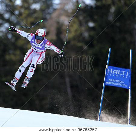 GARMISCH PARTENKIRCHEN, GERMANY. Feb 10 2011: Bjoern Sieber (AUT) takes to the air competing in the men's downhill training at the 2011 Alpine Skiing World Championships