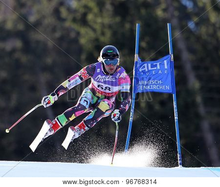 GARMISCH PARTENKIRCHEN, GERMANY. Feb 10 2011: Cristian Javier Simari Birkner (ARG) takes to the air competing in the men's downhill training at the 2011 Alpine Skiing World Championships
