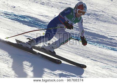 GARMISCH PARTENKIRCHEN, GERMANY. Feb 10 2011: Daniela Merighetti (ITA) whilstcompeting in the women's downhill training at the 2011 Alpine Skiing World Championships