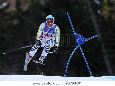 GARMISCH PARTENKIRCHEN, GERMANY. Feb 10 2011: Andreas Sander (GER) takes to the air competing in the men's downhill training at the 2011 Alpine Skiing World Championships