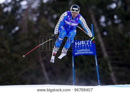 GARMISCH PARTENKIRCHEN, GERMANY. Feb 10 2011: Hans Olsson (SWE) takes to the air competing in the men's downhill training at the 2011 Alpine Skiing World Championships